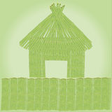 Hut and the fence of bamboo. Vector illustration of a cabin and fence of bamboo Royalty Free Stock Photo