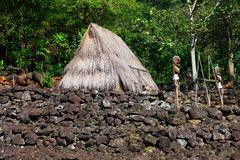 Hut and Figures, Traditional, Hawaii Royalty Free Stock Photo