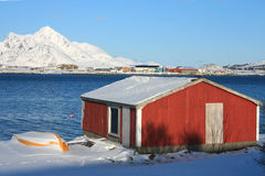 Hut on the Fjord. Of Busknes, Lofoten islands, during winter royalty free stock photos