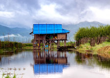 Hut floating on Inle lake Stock Images
