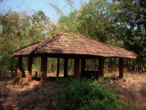 Hut in forest. Exterior of Asian hut or shelter in forest or jungle Stock Image