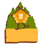 Hut in forest vector logo. Cartoon old house on chicken legs with window, baba yaga home Stock Photo