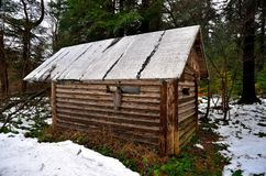 Hut in forest. Wooden hut in forest becomes a shelter when there is a need royalty free stock image
