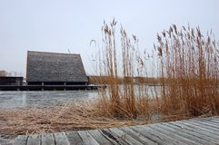 Hut in Frozen Lake Stock Photography