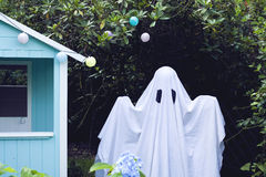 Hut ghost. A white ghost in a hut royalty free stock images