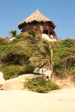 Hut with hammocks on a Caribbean beach. Colombia Royalty Free Stock Photography