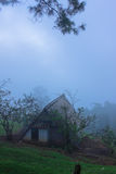 Hut on high mountain and cloudy morning Stock Photography