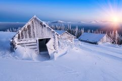 Hut in high mountains Royalty Free Stock Images
