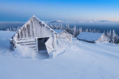 Hut in hight mountains Stock Image