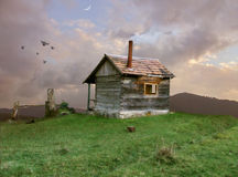 Hut on the hill. Small old hut stands on the hill vector illustration