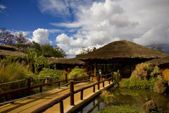The hut of the hotel. This is the reception of the hotel in the Amboseli National Park Royalty Free Stock Photography