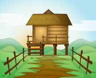 A hut. Illustration of a hut in a beautiful nature Stock Photos