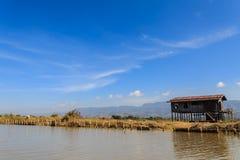 Hut, inle meer in Myanmar (Burmar) stock fotografie