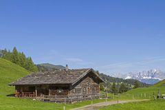 Hut with Kaiser Mountains Royalty Free Stock Photo