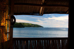 Hut on the lake. A relaxing view from an hut on lake Malawi, Africa royalty free stock image