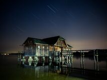 Hut, Lake, Star, Milky Way Stock Photo