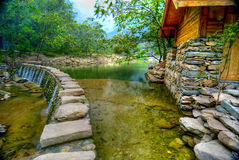 Hut and lake in Wudang royalty free stock photography