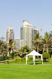 Hut on the lawn in luxurious hotel. Dubai, UAE Stock Photos
