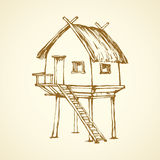 Hut on legs. Vector drawing. Romantic cozy treehouse on legs isolated on white sky background. Retro thai rest spa sala bar with old straw roof. Freehand outline Stock Photography