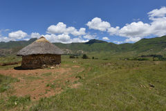 Hut in the Lesotho Landscape Stock Photos