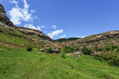 Hut in Lesotho Landscape. Native hut in the hilly landscape of the Butha-Buthe region of Lesotho. Lesotho, officially the Kingdom of Lesotho, is a landlocked Royalty Free Stock Images