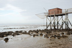 Hut at low tide Royalty Free Stock Images