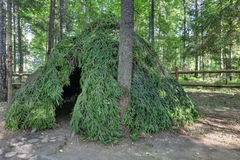 Hut made of spruce branches Stock Photography