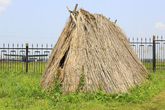 Hut made of straw. Tourist Complex Siberian Podvorye. Royalty Free Stock Photography