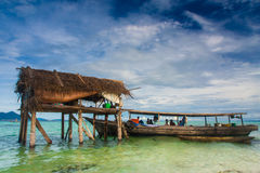 A hut in the middle of the sea Stock Image