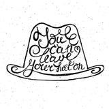 Hut mit Hand gezeichnetem Typografieplakat Stockfotos