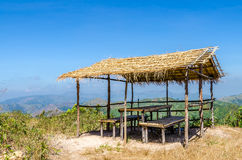 Hut on the mountain against with blue sky Royalty Free Stock Photos