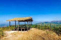 Hut on the mountain against with blue sky Stock Photography