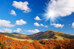 Hut in a mountain forest. Autumn Landscape Royalty Free Stock Photos