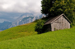 Hut in the mountains. Small hut in the mountains of Austria, close to the mountain Zugspitze royalty free stock photography