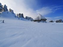 Hut in the mountains Royalty Free Stock Photos