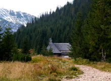 Hut in the mountains. Beautiful views of the Polish mountains stock images
