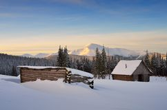 Hut in the mountains in winter Stock Image