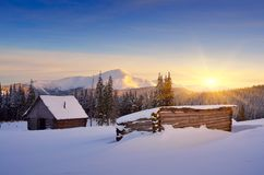 Hut in the mountains in winter Royalty Free Stock Images