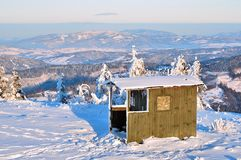 Hut in mountains. Wood Hut in Polish Mountains stock image