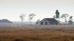 Hut Myanmar. Myanmar shacks by rail from Yangon to Bago Royalty Free Stock Images