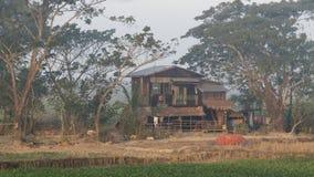 Hut Myanmar. Myanmar shacks by rail from Yangon to Bago Royalty Free Stock Image