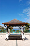 Hut near beach and swimming pool Royalty Free Stock Photography