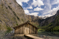 Hut in Obersee. Wonderful mountain panorama by the Austrian-German border Stock Photography