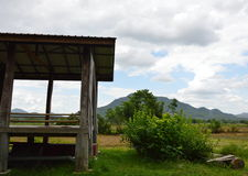 Hut in paddy field Royalty Free Stock Photos