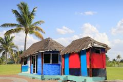 Hut palapa colorful tropical cabin palm trees Stock Photography