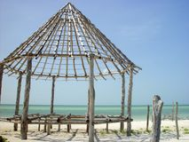 Hut palapa construction wood structure Holbox Royalty Free Stock Photo