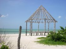 Hut palapa construction wood structure Holbox Stock Photos