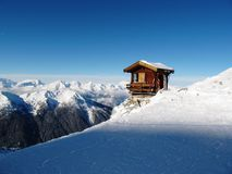 Hut perched precariously on the side of a mountain Royalty Free Stock Images