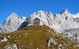 The hut, refugio, bivacco Tiziano in the Alps mountains, Marmarole Royalty Free Stock Photography