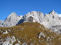 The hut, refugio, bivaccoTiziano in the Alps mountains, Marmarole Royalty Free Stock Photography